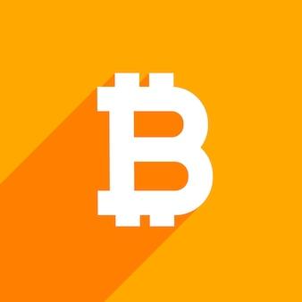 Bitcoin symbool op oranje achtergrond