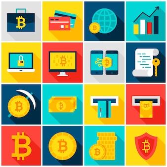 Bitcoin valuta kleurrijke pictogrammen. vectorillustratie. set platte rechthoek financiële artikelen met lange schaduw.