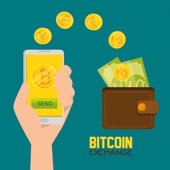 Bitcoin virtuele valuta en portemonnee met rekeningen