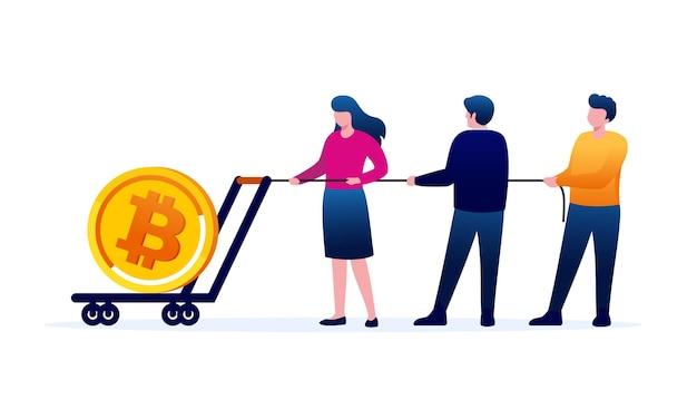 Bitcoin winst platte vector illustratie sjabloon voor spandoek