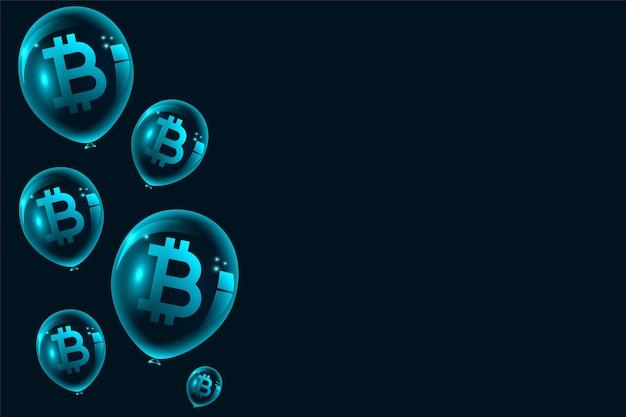Bitcoin zeepbel ballonnen concept achtergrond