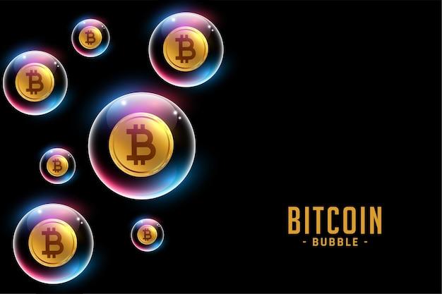 Bitcoin zeepbel concept achtergrondontwerp