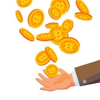 Bitcoins falling to business hand