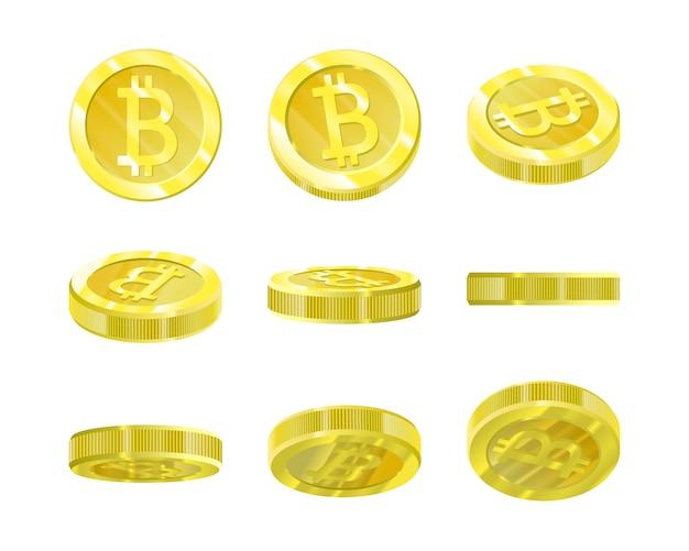 Bitcoins, gouden munten vanuit verschillende invalshoeken voor animatie