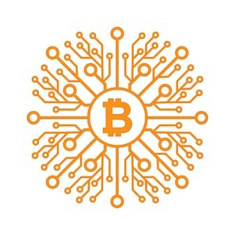 Bitcoins platte pictogram.