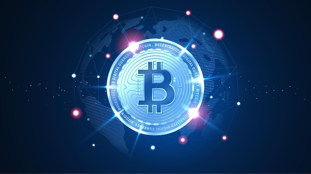 Bitmunt blockchain-technologie met wereldwijd verbindingsconcept geschikt voor financiële investeringen of cryptovaluta-trends, zakelijk idee en alle kunstwerken - vector