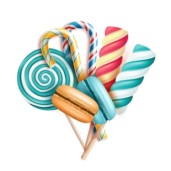Bitterkoekjes taarten en lollipop snoepjes set vector