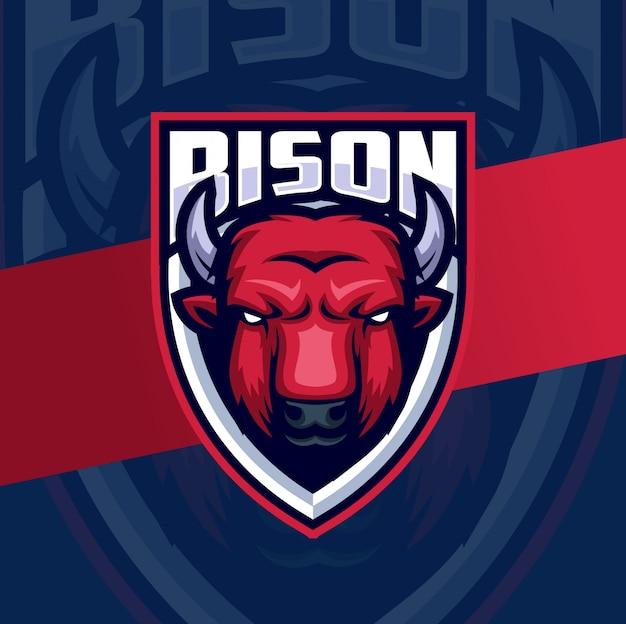 Bizon hoofd mascotte esport logo ontwerp