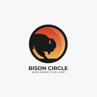 Bizon met cirkel illustratie logo.