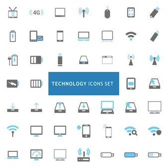 Black and blue technology iconen set