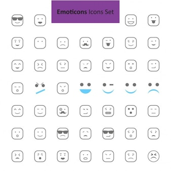 Black and gray emoji icon set