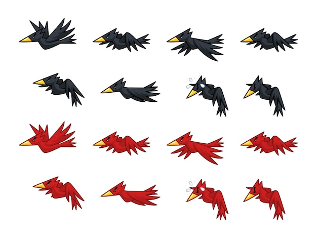 Black and red crows game sprites