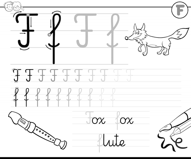 Black and white writing skills practice with letter f voor kinderen