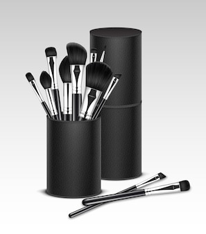 Black clean professional makeup concealer powder blush eye shadow brow brushes