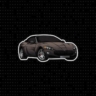 Black convertible coupe hand draw