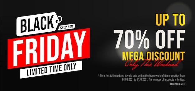 Black friday 70 procent prijs korting op mega-kortingsverkoopbanner. tijdelijke aanbieding alleen dit weekend in kaderpromotie. commerciële marketingadvertentie voor online marktplaats vectorillustratie