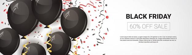 Black friday-aanbieding, horizontale panoramische verkoopbanner met luchtballonnen en tekstsjabloon