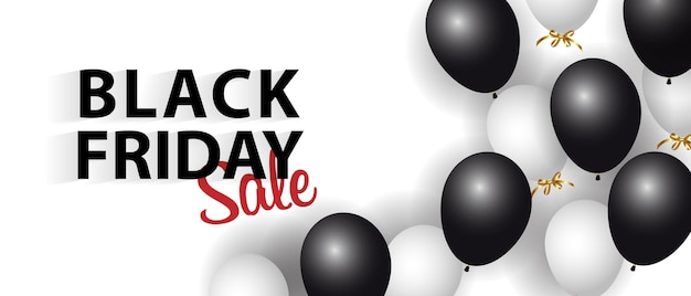 Black friday-advertentiebanner met glanzende ballonnen.