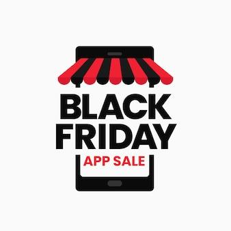 Black friday app verkoop korting promotie sociale media poster achtergrond grafische sjabloon smartphone-pictogram met gestreepte winkel luifel