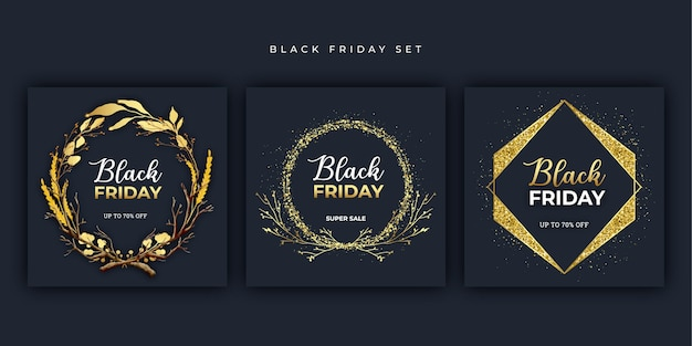 Black friday banner gouden set