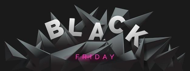 Black friday-banner met abstracte zwarte kristalachtergrond.