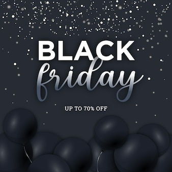 Black friday-banner met baloons