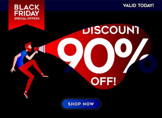Black friday-banner met een man met een megafoon kondigt grote korting aan