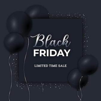 Black friday-banner met elegante zwarte baloons