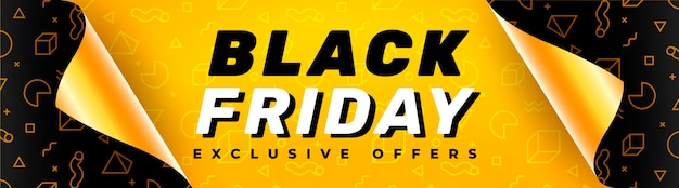 Black friday-banner met open cadeaupapier