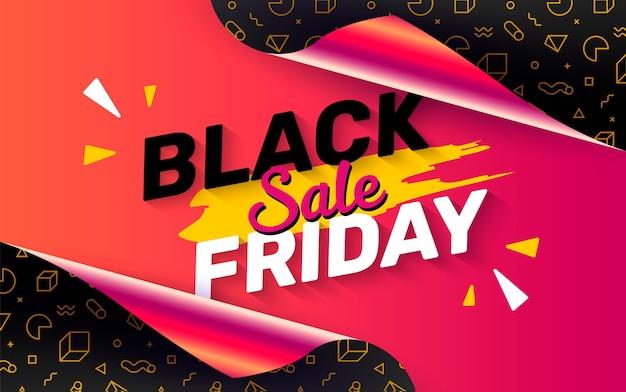 Black friday-banner met open cadeaupapier