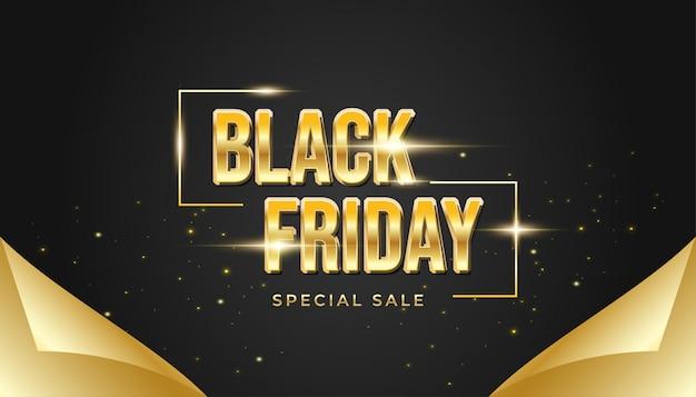 Black friday-banner met open inpakpapierconcept in zwart en goud