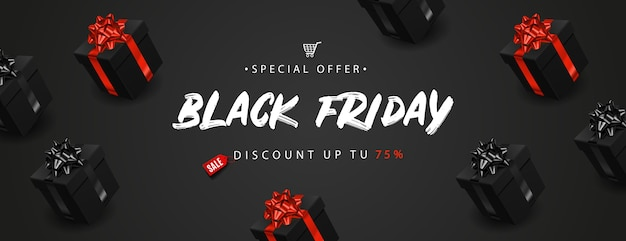 Black friday-banner met realistische zwarte geschenkdozen.