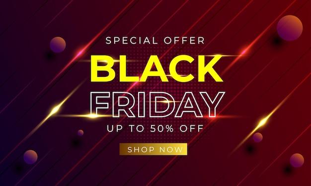 Black friday banner speciale aanbieding lichtrode achtergrond premium vector