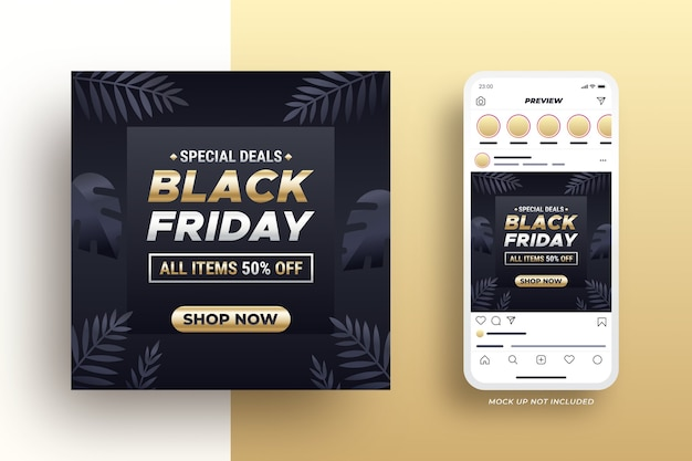 Black friday-banner voor sociale media