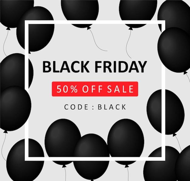 Black friday-bannerkorting 50% korting op de prijs. zwarte ballen met een wit frame op een grijze achtergrond met de tekst black friday. vectorillustratie eps 10