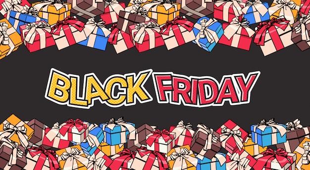 Black friday-bannerontwerp met heden en giftdozen op achtergrond het winkelen afficheconcept