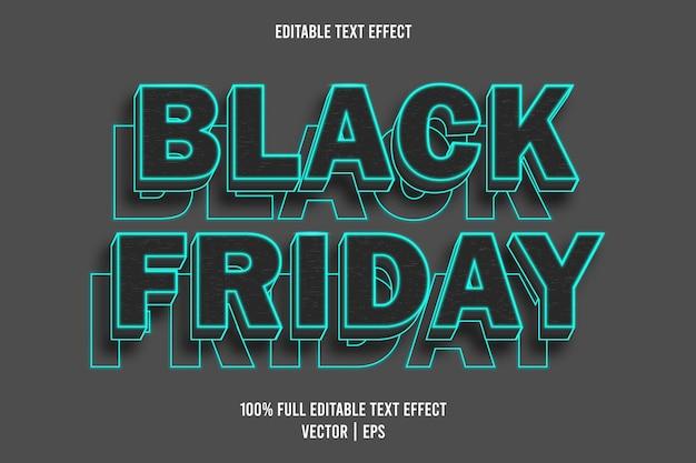 Black friday bewerkbaar teksteffect zwart en cyaan kleur
