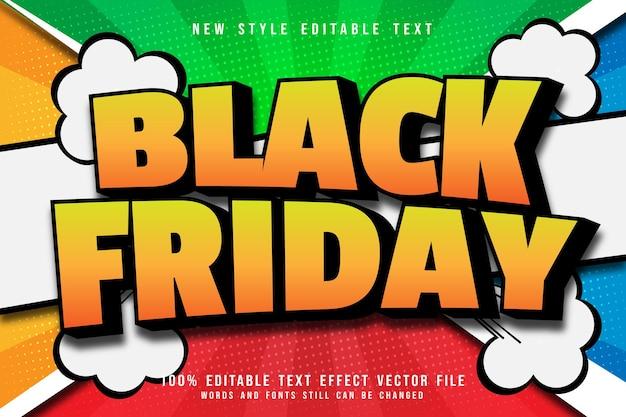 Black friday bewerkbare teksteffect reliëf komische stijl