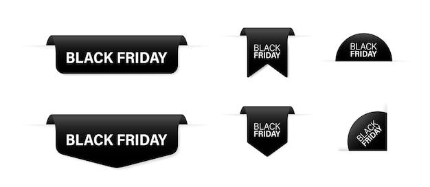Black friday black banner-promotie. set zwarte linten.