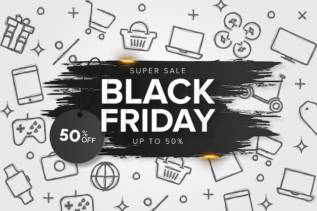 Black friday brush stroke banner-sjabloon met hand getrokken pictogrammen