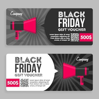 Black friday-cadeaubon. plat ontwerp. aankondiging van de prijs. vector illustratie