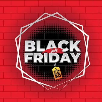 Black friday-de bakstenen banner van het verkoopgat