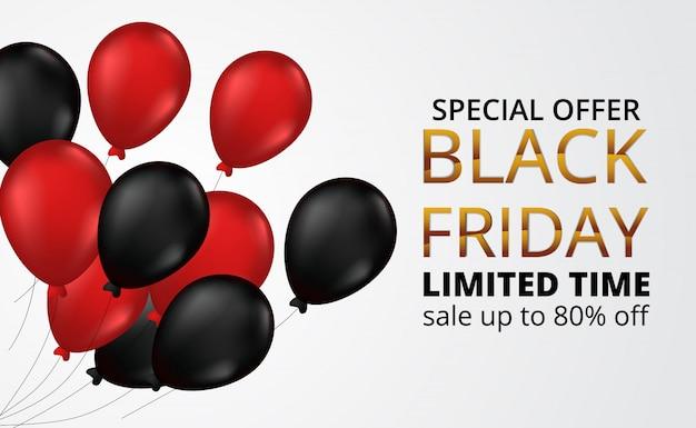 Black friday-de bannermalplaatje van de verkoopaanbieding met vliegende rode en zwarte heliumballon van het gas