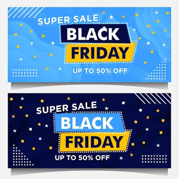 Black friday-evenementbanners en achtergrondsjabloon in blauwe kleur met verloopstijl