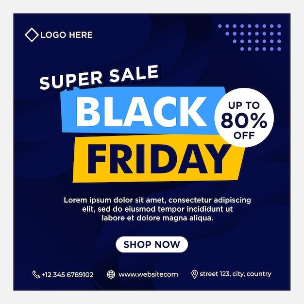 Black friday-evenementbanners, sociale media-post en achtergrondsjabloon in blauwe kleur met verloopstijl