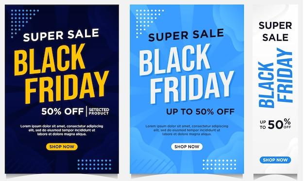 Black friday-evenementvlieger, banners en achtergrondsjabloon in blauwe kleur met verloopstijl