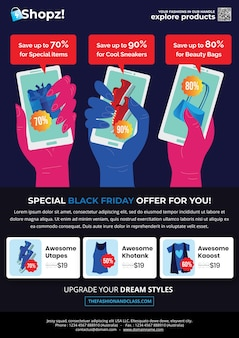 Black friday fashion flyer met drie handen toont verschillende info van aanbevolen items en modemenu in het middelste gedeelte