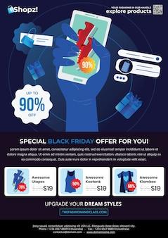Black friday fashion flyer met een handshow uitgelichte sneaker omringd met speciale items en een modemenu in het middengedeelte