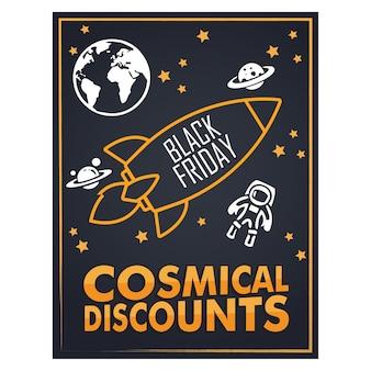 Black friday-flyer met een cartoonachtige stijl