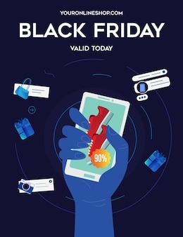 Black friday flyer met een hand met smartphone toont een sneakerkorting